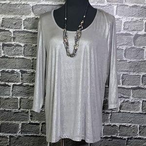 Susan Graver Liquid Knit Metallic Silver Top 1X